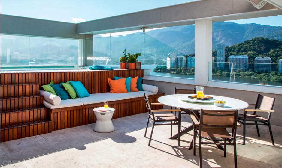 terrasse colorée et design
