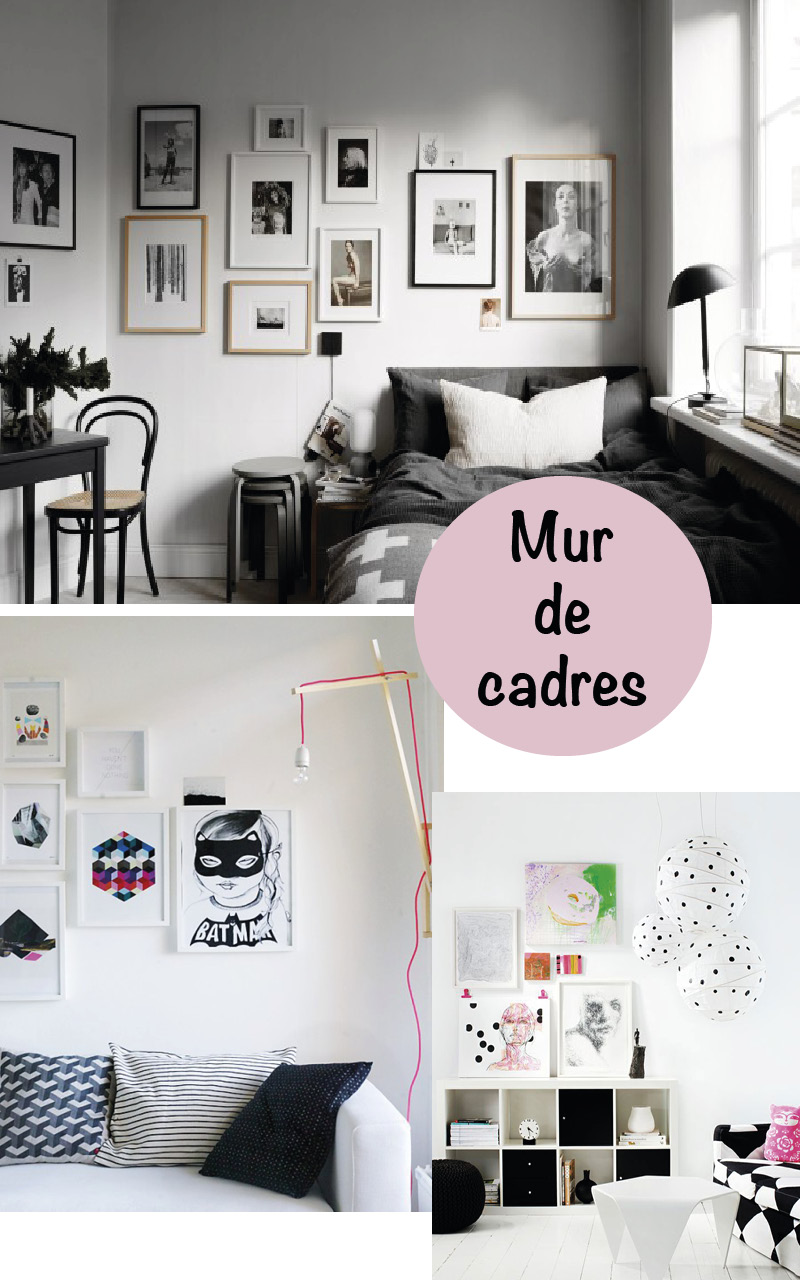 mur de cadres une d co murale graphique et originale. Black Bedroom Furniture Sets. Home Design Ideas