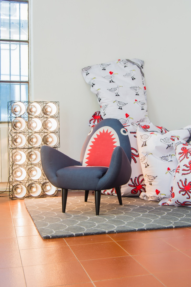 Bowie lampe - Chaise requin - pouf
