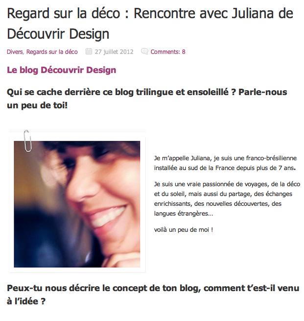 DECOuvrir design -interview déco - Intérieur et décoration